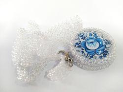 Хрустальный прозрачный кулон на цепочке гжель синий цветок орнамент