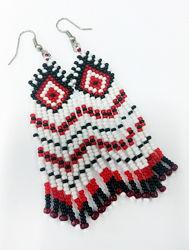Серьги ручной работы дешево подарок украинский узор орнамент этно бохо