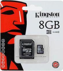Micro SD 8 GB clas 4 Kingston флешка новая. Оригинал флеш-карта