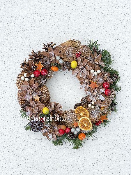 Новогодний и Рождественский веночек ручной работы