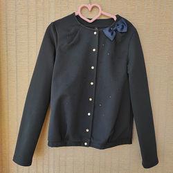 Синий школьный пиджак девочке Smil размер 140, на 2-3 класс