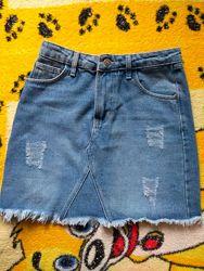 Джинсовая юбка, размер хс-с, маленькая м