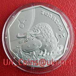 Коллекционная монета НБУ Телец  Телятко серебро, золото, Знаки Зодиака