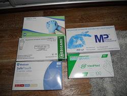 Перчатки медицинские новые разные 100шт