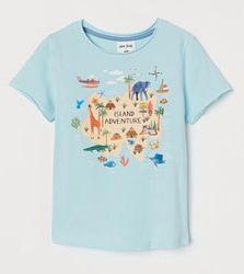 Интересная хлопковая футболочка H&M на мальчика, размер 8-10
