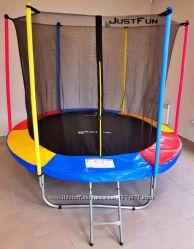 Батуты для детей Justfun с внутренней сеткой 244см и 305 см. две расцветки.