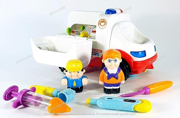 Детская машинка, развивающая музыкальная игрушка Скорая Помощь Hola Toys