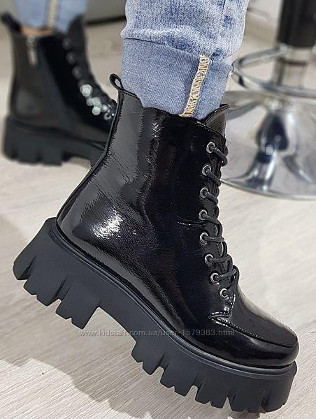 Ботинки молодежные из натуральной лаковой кожи от производителя БС20065