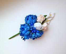 Брошь бутоньерка синие васильки белые каллы розы крем пион для любой одежды