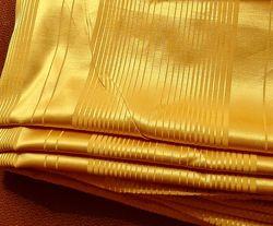 Ткань шторная портьерная жёлтая атласные полосы декор окон отрез шторы