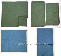 Ткань голубая зелёная материал полиэстер жатка отрез на жакет куртку юбку