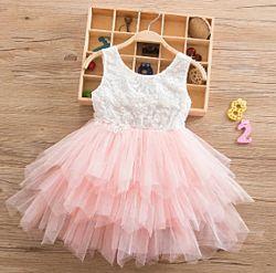 Платье легкое короткое летнее нарядное для девочки