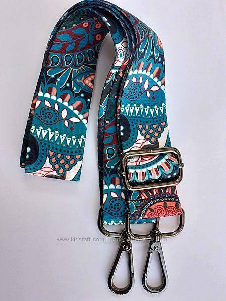 Ремень для сумки широкий яркий с карабинами плечевой