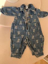 standard blues комбинезон рукава джинсовый 12 мес, 1 год, мишка, медведь
