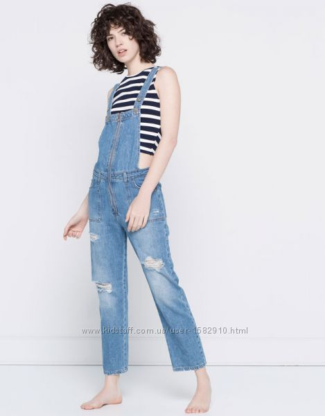 комбинезон джинс мом mom jeans zara pull&bear s m