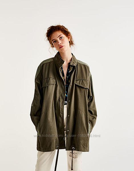 Джинсовая куртка - рубашка оверсайз хаки в стиле милитари zara pull&bear
