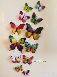 Бабочки объемные на стену 3D двойные на магнитах наклейки интерьерные