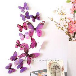 Бабочки на стену декоративные пластиковые 3D объемные на скотче стикеры 3Д
