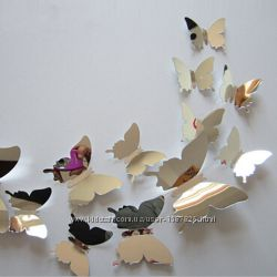 Бабочки на стену зеркальные декоративные наклейки 3D интерьерные объемные