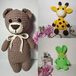 Вязаные игрушки Мишка, Жираф, Зайка амигуруми