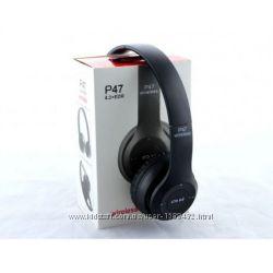 Беспроводные Наушники P-47 Bluetooth  MicroSD  FM Радио чёрные