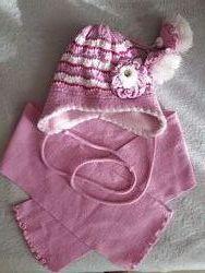Зимний комплект шапка и шарфик для девочки р. 48-50
