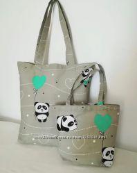 Милая панда Комплект милых сумочек для мамы и дочки