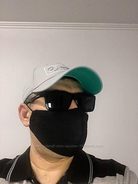 Трехслойная многоразовая хлопковая маска для лица  расцветка на выбор