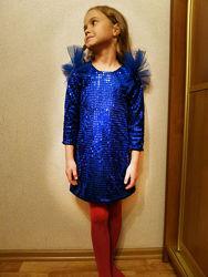 Платье блестящее детское нарядное