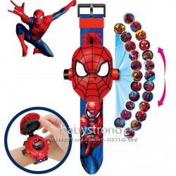 Проекционные детские часы Человек Паук - 24 вида изображения героев . Projec