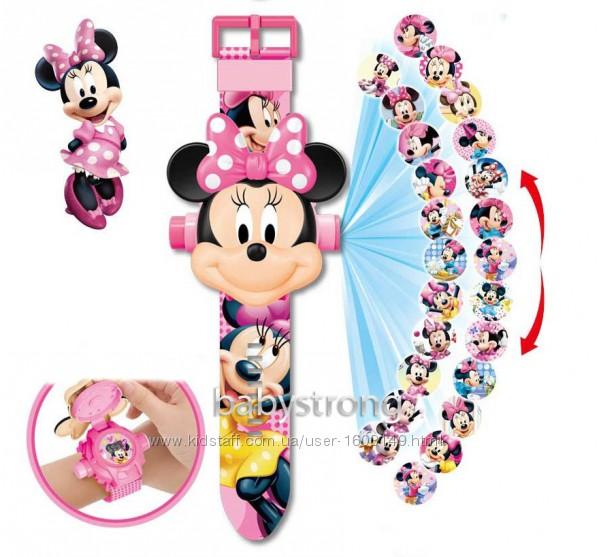 Проекционные детские часы Мики Маус - 24 вида изображения героев . Projector