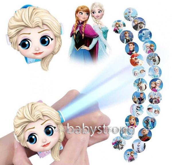 Проекционные детские часы Эльза Холодное сердце - 24 вида героев . Projector