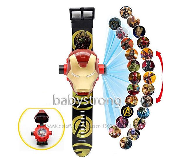 Проекционные детские часы Железный Человек - 24 вида изображения героев