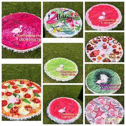 Хит2020 Пляжный коврик полотенце парео Фламинго 100 микрофибра мандала