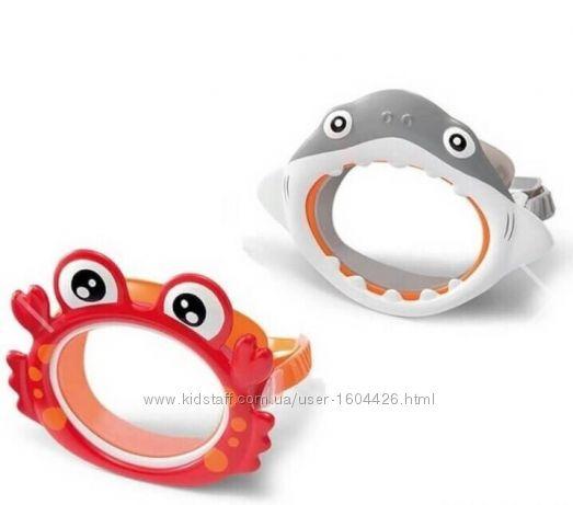 Маска трубка набор для плавания детская Intex для бассейна Краб Акула