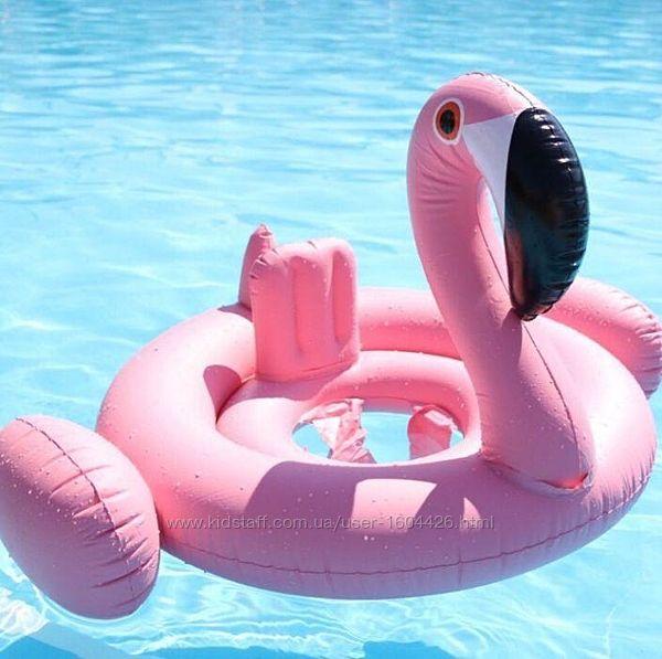 Надувной детский круг круг-ходунки Розовый Фламинго с трусиками
