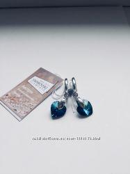Серебряные серьги с кристаллом Swarovski