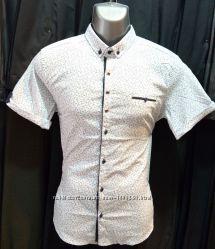 Новинка Стрейч-коттоновая молодёжная приталенная мужская рубашка с принтом
