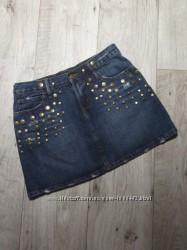 Джинсовая юбка-трапеция с заклепками DENIM&CO PRIMARK, р. 836S-M