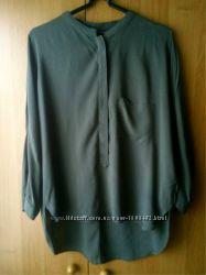Женская блузка хаки, блуза оверсайз ZARA, воротник-стойка, р. M