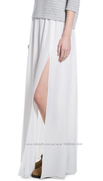 Белая шифоновая юбка макси с разрезами Mango / M