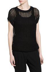 Ажурный плетенный топ, жилет, блуза Mango / L / цвет чёрный