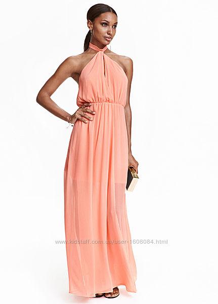 Нарядное шифоновое платье макси H&M GOLD Collection, M