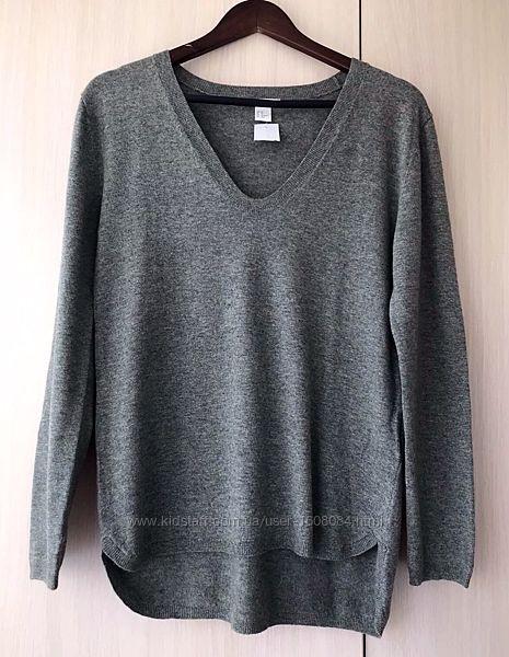 Серый удлиненный пуловер H&M / XS