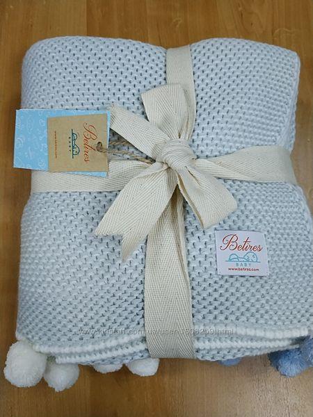 Плед одеяло с помпонами вязаный Betires Турция