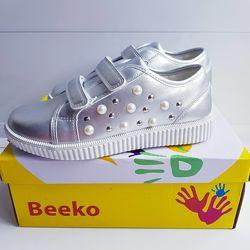Кроссовки туфли серебряные на липучке beeko 32-37