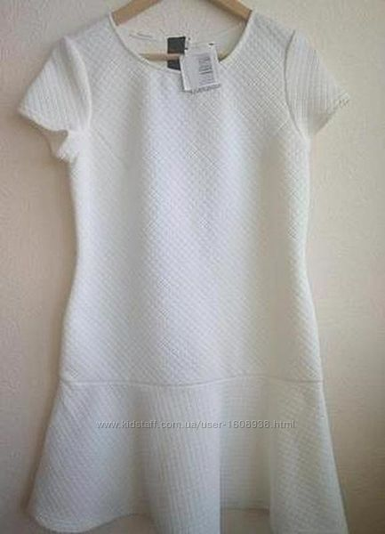 Белое платье promod с оригинальной застежкой