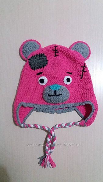 Вязаная шапочка Мишка