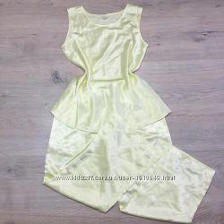 Шелковая пижама нежного лимонного цвета р М