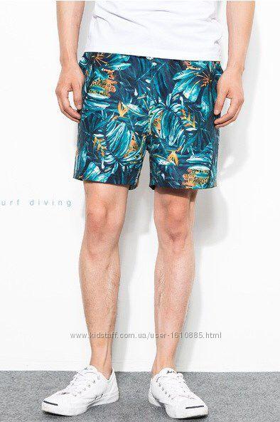 Мужские плавки на пляж тропический принт